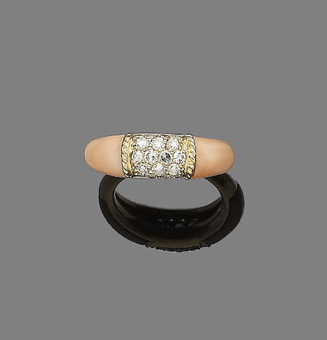 A coral and diamond ring, by Van Cleef & Arpels