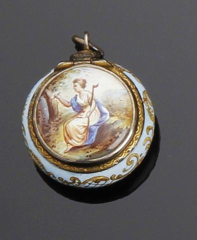 An Austrian silver-gilt and enamel vinaigrette by Ludwig Pollitzer, Vienna, late 19th century