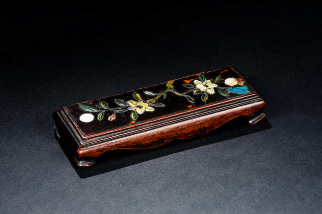 A spinach jade, turquoise and mother-of-pearl inlaid wood inkrest Ming dynasty