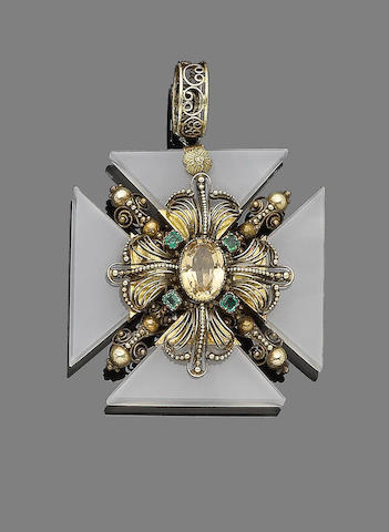 A topaz, emerald and chalcedony revival Maltese cross pendant,