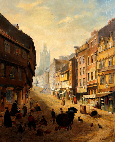 Samuel Dukinfield Swarbreck (British, exh. 1852-1863) Old Newcastle street scene with figures
