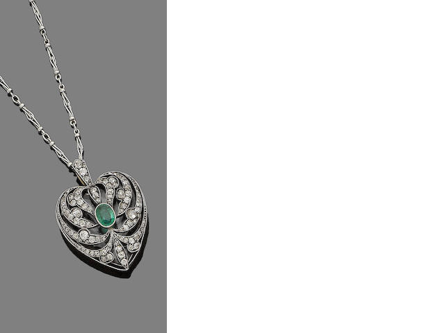 An emerald and diamond heart pendant necklace,
