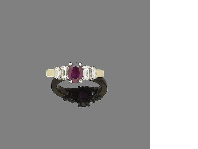 A ruby and diamond ring, by Mappin & Webb,