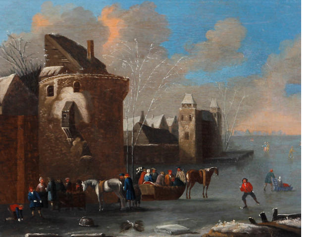 Circle of Thomas Heeremans (Haarlem 1640-1697) A Dutch winter scene with skaters, figures and horse drawn sleighs on the ice by town walls