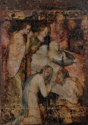 Netherlandish School, (circa 1600) The Dormition of the Virgin, with saints in attendance, a fragment (possibly a part of a folding altarpiece)
