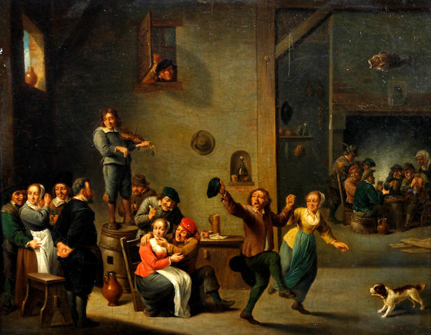 Manner of David Teniers the Younger Figures dancing and merrymaking in a tavern