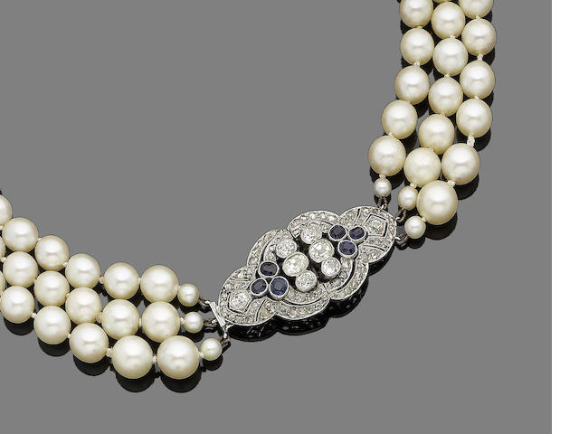 A three-strand cultured pearl, sapphire and diamond necklace