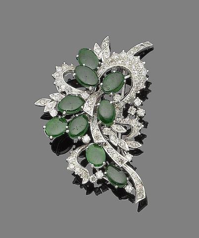 A jade and diamond spray brooch