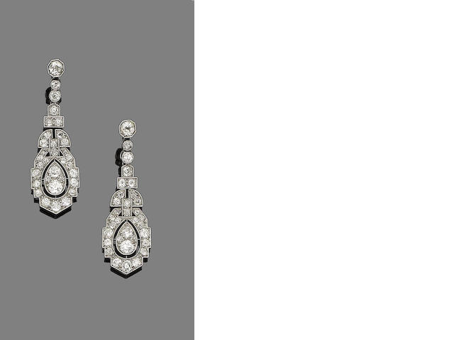 A pair of art deco diamond pendent earrings,