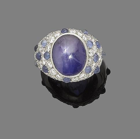 A star sapphire and diamond dress ring