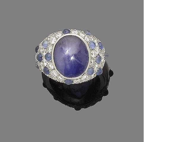 A star sapphire and diamond dress ring