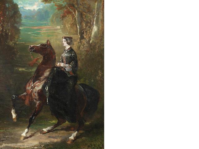 Alfred de Dreux (French, 1810-1860) La Châtelaine à cheval