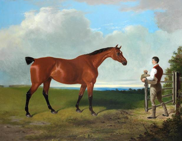 William Barraud (British, 1810-1850) Landscape with hunter and groom