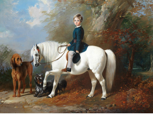 Henry Barraud (British, 1811-1874) Master Beresford Lowndes with his favourite pony and dogs