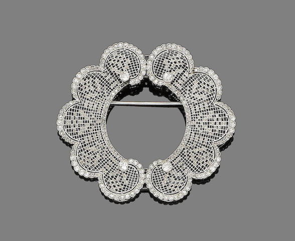 A belle époque diamond brooch,