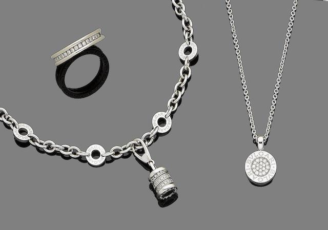 A diamond eternity ring, bracelet and pendant necklace, by Bulgari (3)