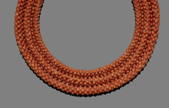 A 19th century coral collar necklace