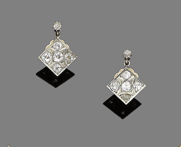 A pair of diamond-set earrings