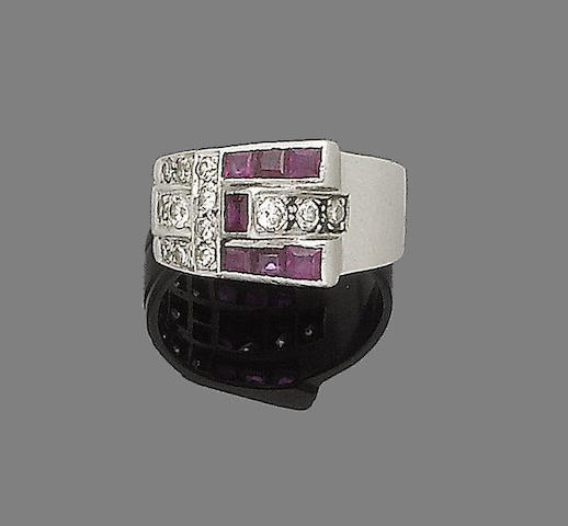 An art deco ruby and diamond ring,