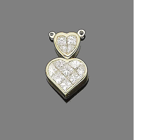 A diamond-set heart pendant, by Kutchinsky