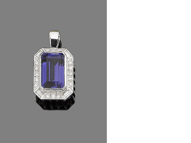 A tanzanite and diamond pendant,