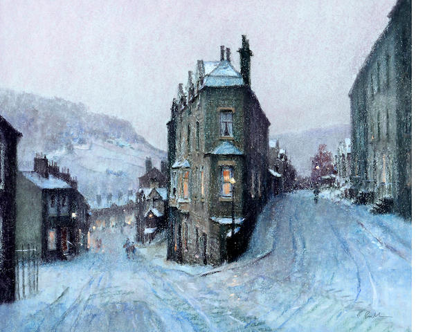 Bob Richardson (British, born 1938) Hebden Bridge street in snow