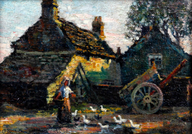 Stanley Royle (British, 1888-1961) Maid feeding ducks before a farm house