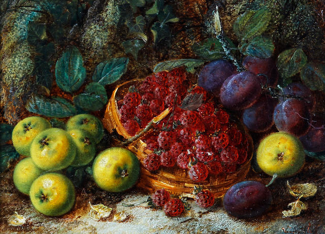 Vincent Clare (British, 1855-1930) Basket of raspberries, with apples and plums on a mossy bank