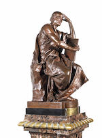 A French late 19th century patinated-bronze figure entitled 'Etude et Méditation'by Paul Dubois, cast by Barbedienne, Paris