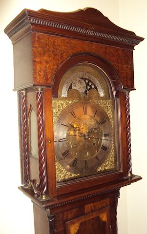 A late 18th/early 19th century mahogany, amboyna and inlaid longcase clock