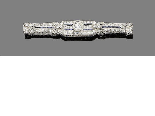 A sapphire and diamond bar brooch,