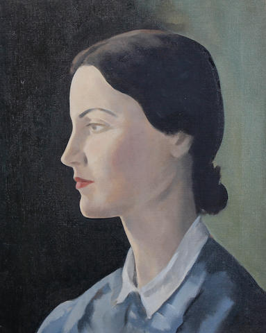 Jacob Kramer (British, 1892-1962) Portrait of a young girl in profile, bust length, wearing a blue dress with a white collar, her hair tied back