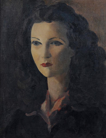 Jacob Kramer (British, 1892-1962) Portrait of a woman, head and shoulders, wearing a dark dress with red shirt collar