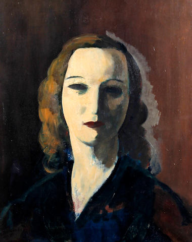 Jacob Kramer (British, 1892-1962) Portrait of a woman, head and shoulders, wearing a dark blue dress with flecks of red
