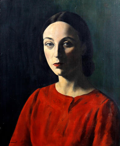 Jacob Kramer (British, 1892-1962) Portrait of Nellie Pickering wearing a red dress