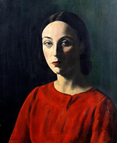 Jacob Kramer (British, 1892-1962) Portrait of Nellie Pickering wearing a red dress