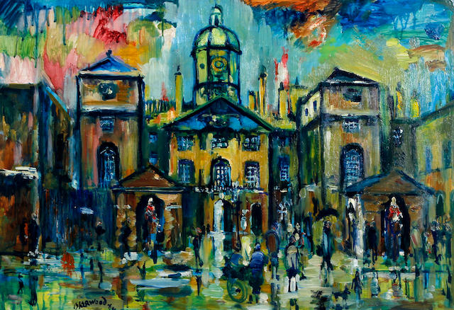 James Lawrence Isherwood (British, 1917-1988) 'Rain, Horse Guards, London, Whitehall 1964'