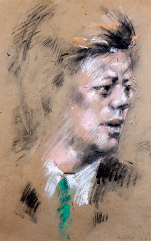 Harold Riley (British, 1934) Portrait head of President John F. Kennedy