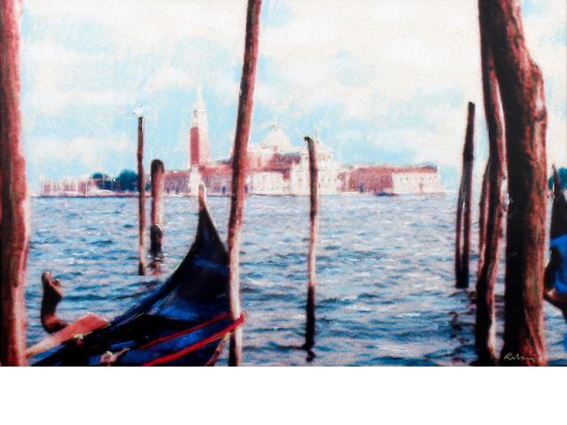 Harold Riley (British, 1934) San Giorgio Maggiore, Venice, from across the Bacino