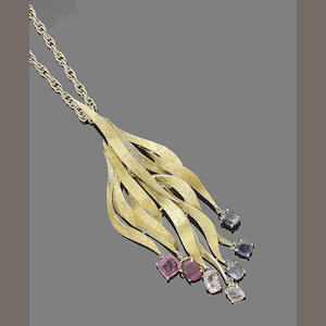 A gem-set pendant necklace, by Grima,
