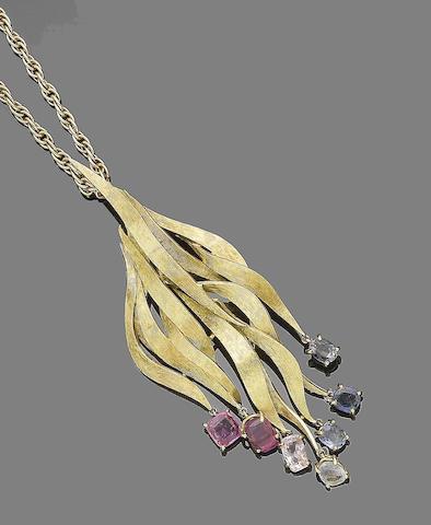 A gem-set pendant necklace, by Grima,