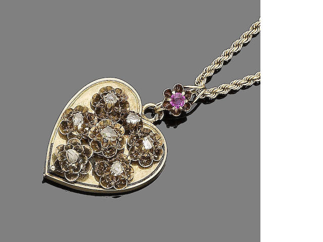 A ruby, enamel and diamond pendant necklace,