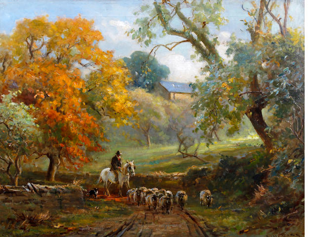 Ernest Higgins Rigg (British, 1868-1947) Drover and sheep in a lane