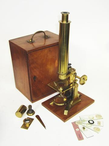A good Frederick Cox compound monocular microscope,  English, circa 1870,