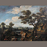 Manner of Gaspard Dughet, called Gaspard Poussin Classical landscape with figures and a ferry boat