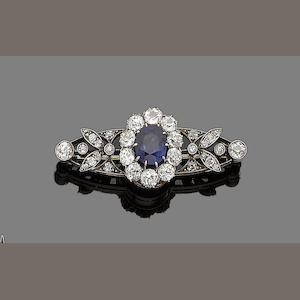 An early 20th century sapphire and diamond brooch,