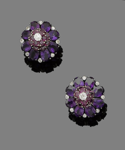 A pair of amethyst, ruby and diamond earclips, by Cartier