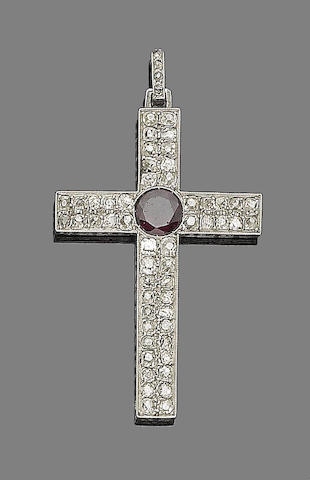 A garnet and diamond Latin cross pendant