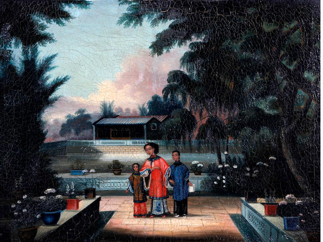 Chinese School, circa 1850 A noblewoman and two children in a formal water garden, possibly Howqua's Garden near Canton