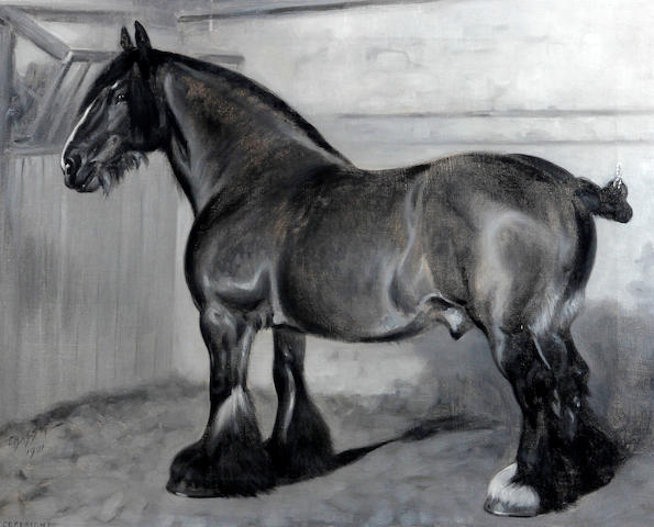 Frank Babbage (British, active 1858-1916) Clydesdale horse in a stable